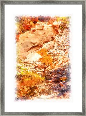 Golden Fall In Zion Framed Print by Viktor Savchenko