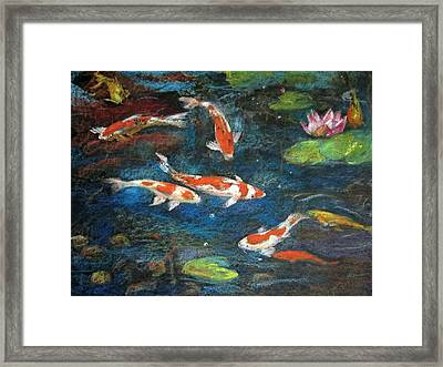 Framed Print featuring the painting Golden Fish by Jieming Wang