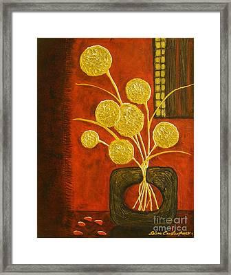 Golden Flowers Framed Print
