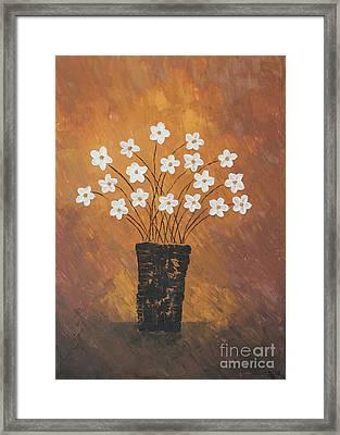 Golden Flowers Framed Print by Home Art