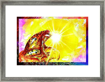 Framed Print featuring the mixed media Golden Frog by Hartmut Jager