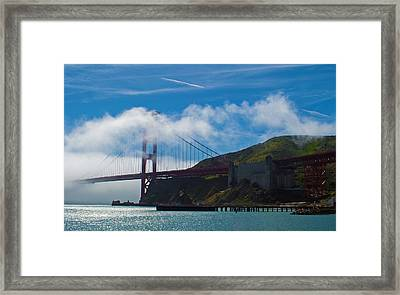 Golden Gate And Fog Framed Print by Rima Biswas