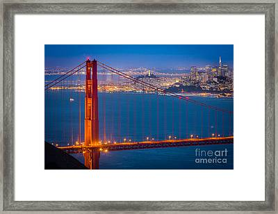 Golden Gate And San Francisco Framed Print by Inge Johnsson
