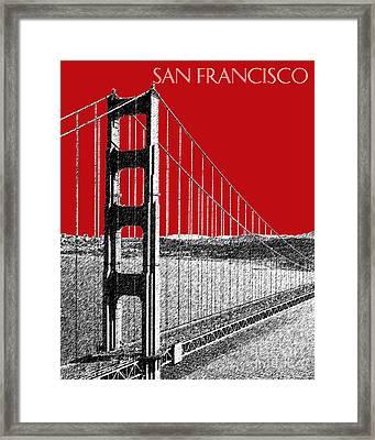 Golden Gate Bridge - Dk Red Framed Print by DB Artist