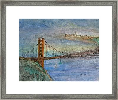 Golden Gate Bridge And Sailing Framed Print by Anais DelaVega