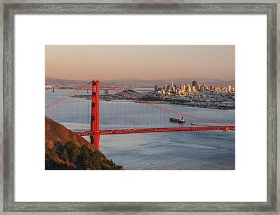 Framed Print featuring the photograph Golden Gate Bridge And San Francisco 1 by Lee Kirchhevel