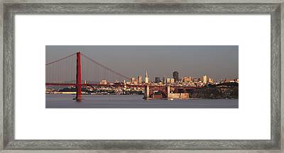 Framed Print featuring the photograph Golden Gate Bridge And San Francisco Panoramic by Lee Kirchhevel