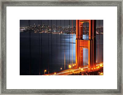Golden Gate Bridge And Supermoon Framed Print