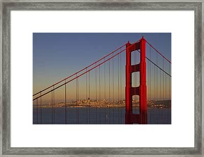 Golden Gate Bridge At Sunset Framed Print by Melanie Viola