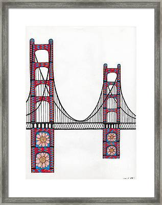 Golden Gate Bridge By Flower Child Framed Print by Michael Friend