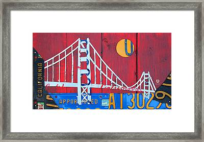 Golden Gate Bridge California Recycled Vintage License Plate Art On Red Distressed Barn Wood Framed Print by Design Turnpike
