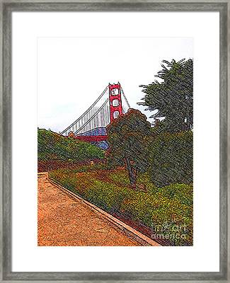 Golden Gate Bridge Crosshatch Framed Print