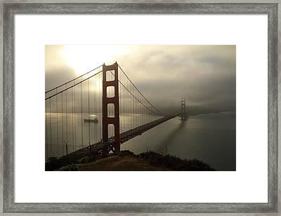 Framed Print featuring the photograph Golden Gate Bridge Fog Lifting by Scott Rackers