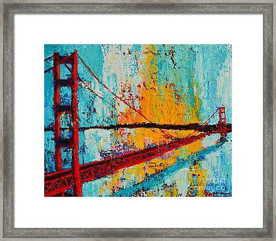 Golden Gate Bridge Modern Impressionistic Landscape Painting Palette Knife Work Framed Print by Patricia Awapara