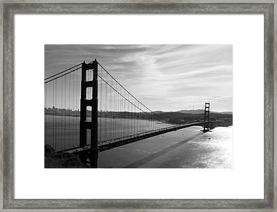 Golden Gate Bridge In Black And White Framed Print