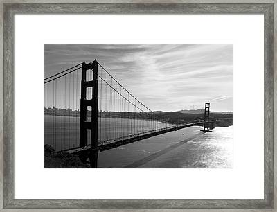 Golden Gate Bridge In Black And White Framed Print by Frank Bright