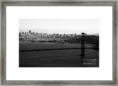 Golden Gate Bridge In Black And White Framed Print by Linda Woods