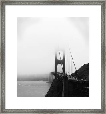 Golden Gate Bridge In Fog ... Sausalito Side Framed Print by Chuck Caramella