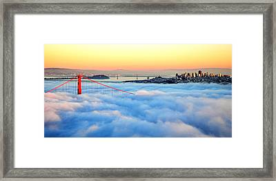 Golden Gate Bridge In Fog At Sunset Framed Print