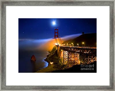 Golden Gate Bridge Moon Fog Mystery Framed Print by Wernher Krutein