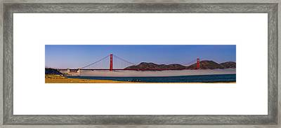 Golden Gate Bridge Over Fog Panorama Framed Print by Chris Bordeleau