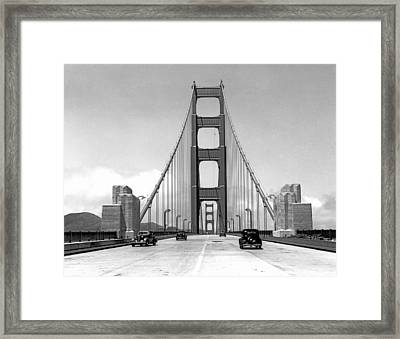 Golden Gate Bridge Preview Framed Print by Underwood Archives