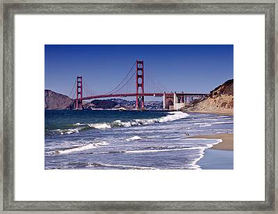 Golden Gate Bridge - Seen From Baker Beach Framed Print by Melanie Viola