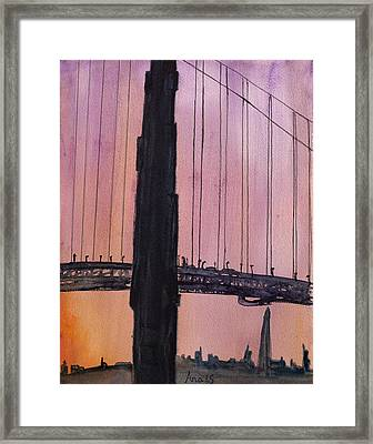 Golden Gate Bridge Tower Framed Print by Anais DelaVega