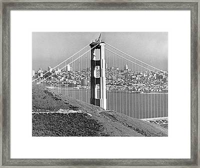 Golden Gate Bridge Tower Framed Print by Underwood Archives
