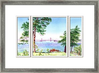 Golden Gate Bridge View Window Framed Print by Irina Sztukowski
