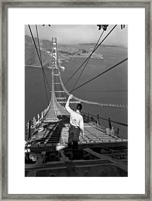 Golden Gate Bridge Worker Framed Print