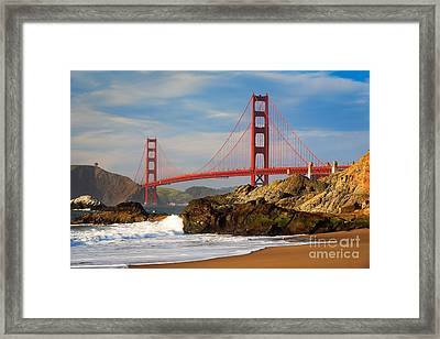 Golden Gate From The Beach Framed Print by Inge Johnsson