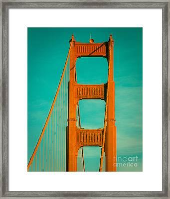 Golden Gate In Turquoise Framed Print