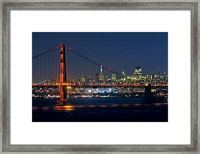 Framed Print featuring the photograph Golden Gate Night 10-26-10 by Christopher McKenzie