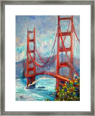 Golden Gate Oil Sketch Framed Print