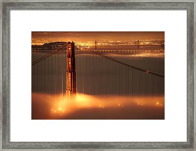 San Francisco - Golden Gate On Fire Framed Print by Francesco Emanuele Carucci