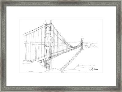 Golden Gate Sketch Framed Print by Calvin Durham
