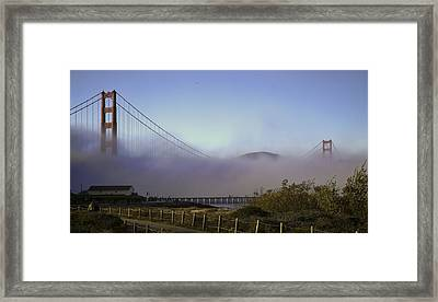 Framed Print featuring the photograph Golden Gate Soft Fog by Michael Hope