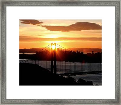 Framed Print featuring the photograph Golden Gate Sunrise 12-2-11 by Christopher McKenzie