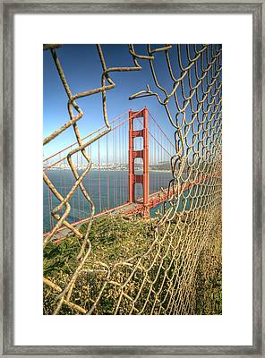 Golden Gate Through The Fence Framed Print