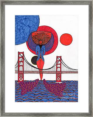 Golden Gate Wine Diva-goddess Framed Print by Michael Friend