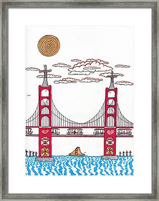 Golden Gate With Wind Power Framed Print by Michael Friend