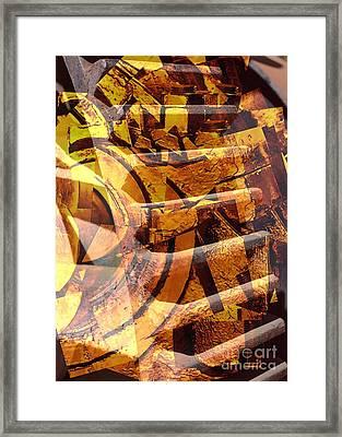 Golden Gears Abstract Framed Print by Carol Groenen