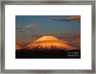 Golden Glaciers On Parinacota Volcano Framed Print by James Brunker
