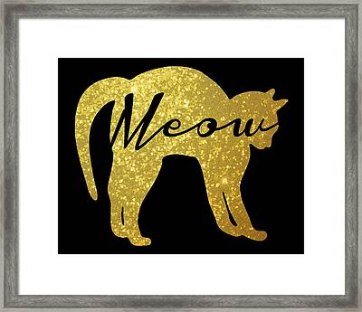 Golden Glitter Cat - Meow Framed Print by Pati Photography