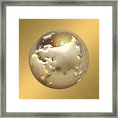 Golden Globe - Eastern Hemisphere On Gold Framed Print by Serge Averbukh