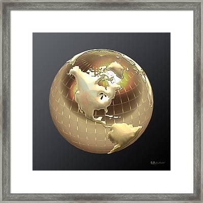 Golden Globe - Western Hemisphere On Black Framed Print by Serge Averbukh