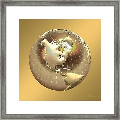 Golden Globe - Western Hemisphere On Gold Framed Print by Serge Averbukh