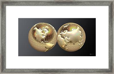 Golden Globes - Eastern And Western Hemispheres On Black Framed Print