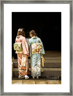 Golden Glow - Japanese Women Wearing Beautiful Kimono Framed Print